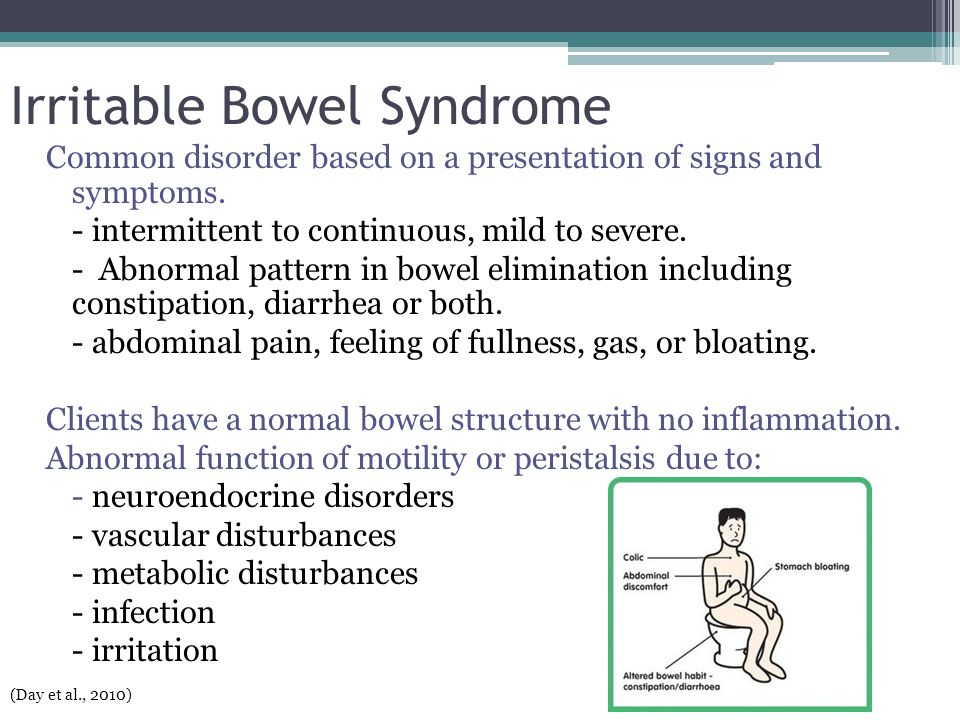 Irritable Bowel Syndrome Common disorder based on a presentation of signs and symptoms. - intermittent to continuous, mild to severe. - Abnormal patte