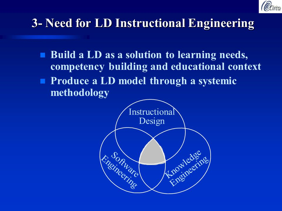3- Need for LD Instructional Engineering n Build a LD as a solution to learning needs, competency building and educational context n Produce a LD model through a systemic methodology Instructional Design Software Engineering Knowledge Engineering