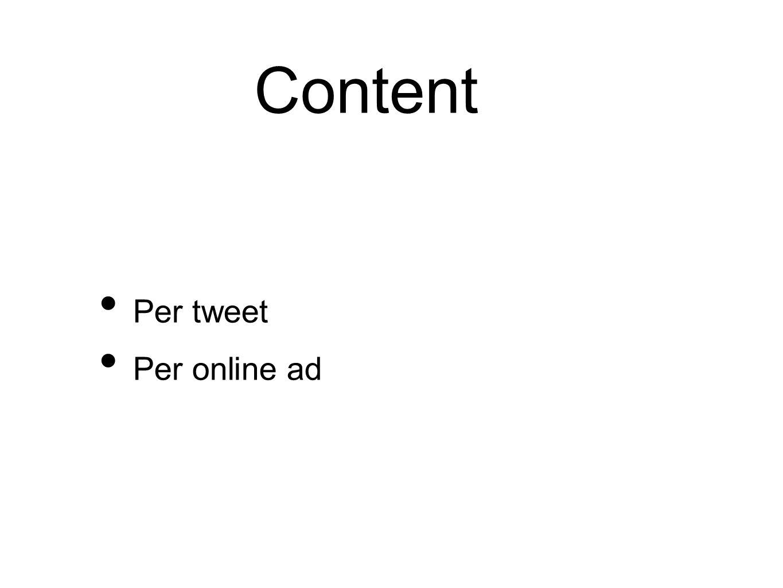 Content Per tweet Per online ad