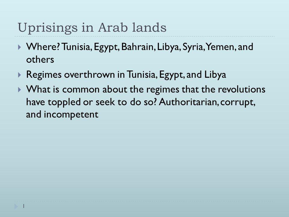 Uprisings in Arab lands  Where.
