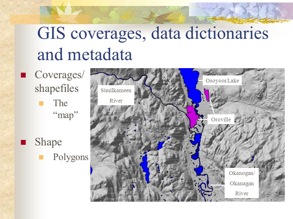 "GIS coverages, data dictionaries and metadata Coverages/ shapefiles The ""map"" Shape Polygons Osoyoos Lake Okanogan/ Okanagan River Similkameen River O"