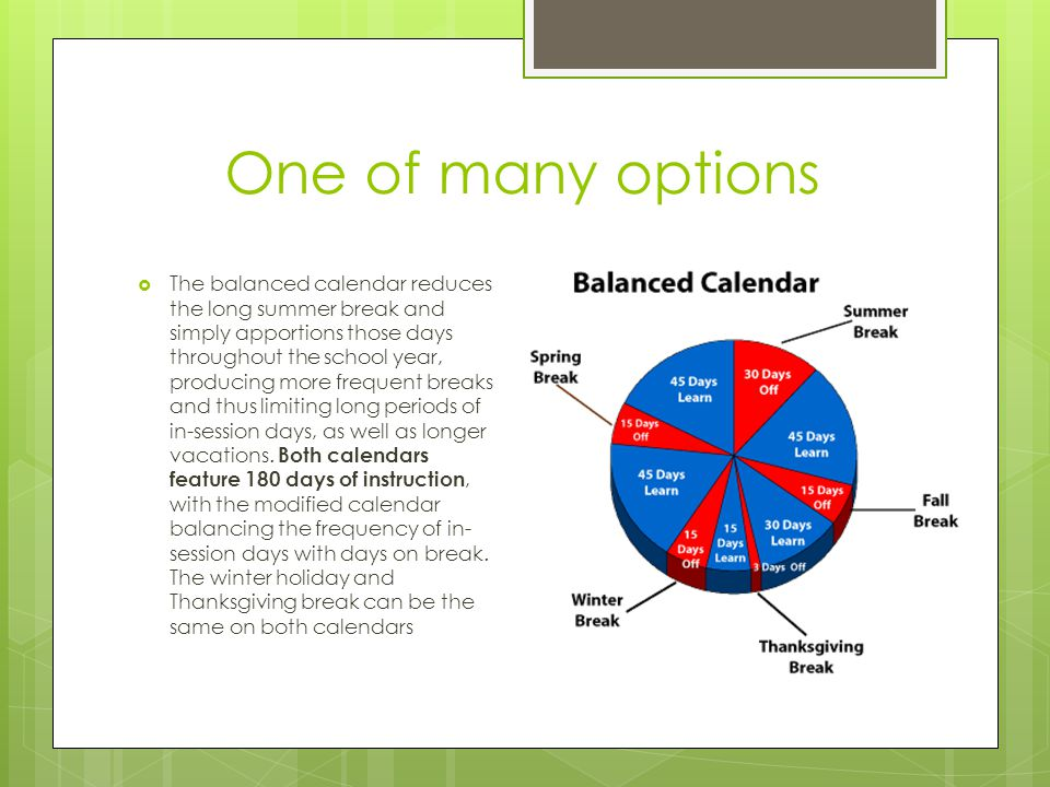 One of many options  The balanced calendar reduces the long summer break and simply apportions those days throughout the school year, producing more frequent breaks and thus limiting long periods of in-session days, as well as longer vacations.