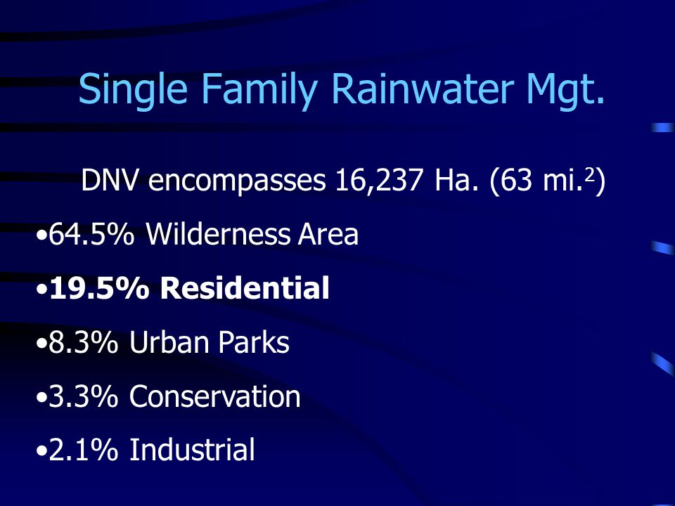 Single Family Rainwater Mgt.Population approximately 80,000 27,319 dwelling units (incl.