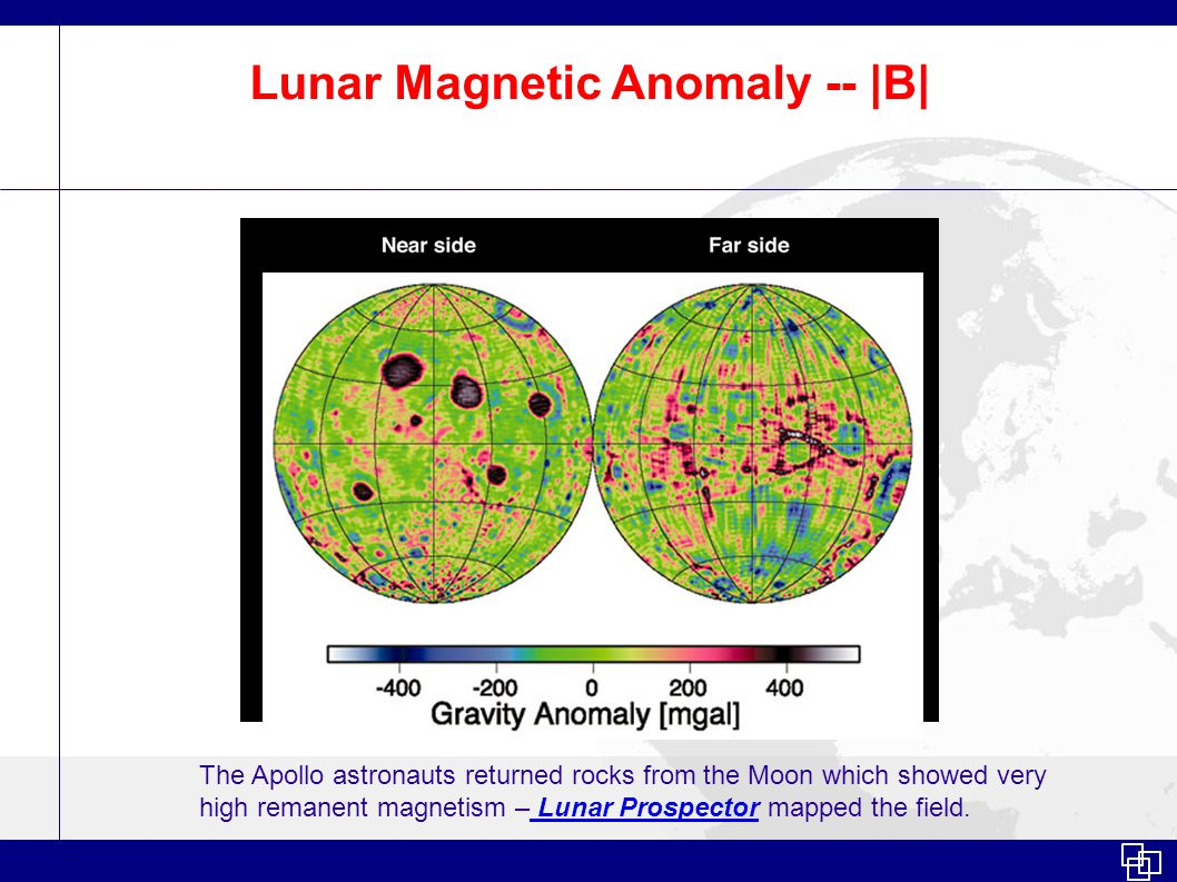 Lunar Magnetic Anomaly -- |B| The Apollo astronauts returned rocks from the Moon which showed very high remanent magnetism – Lunar Prospector mapped the field.