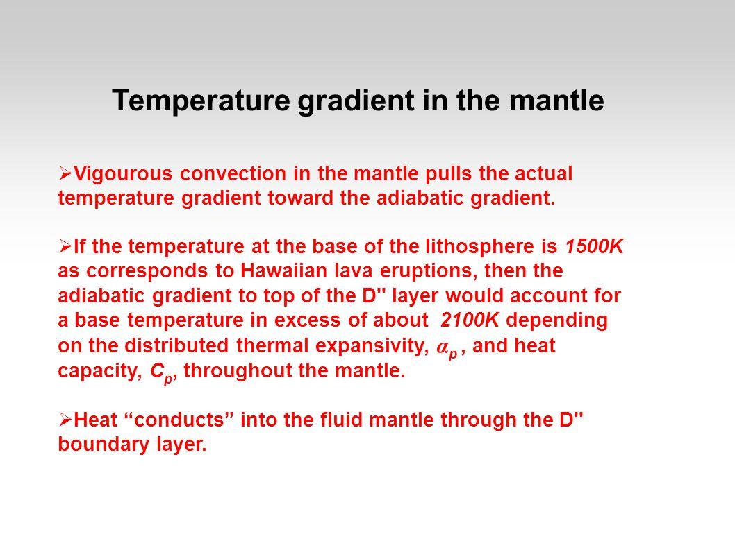 Temperature gradient in the mantle  Vigourous convection in the mantle pulls the actual temperature gradient toward the adiabatic gradient.