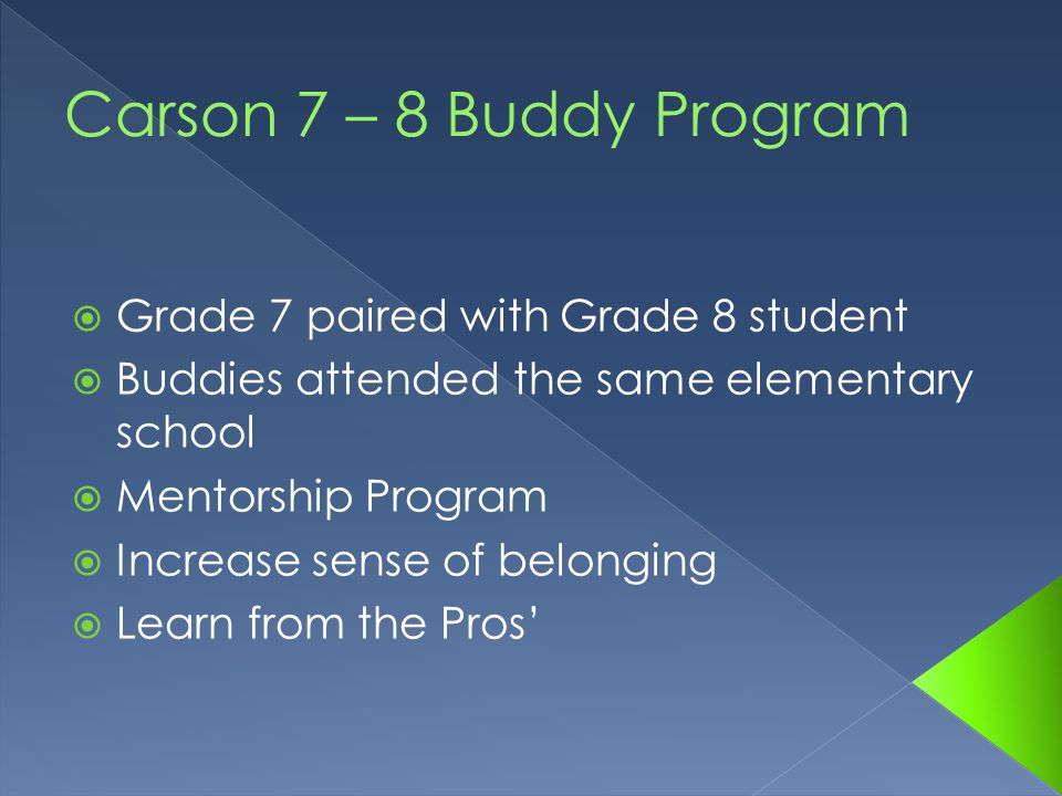  Grade 7 paired with Grade 8 student  Buddies attended the same elementary school  Mentorship Program  Increase sense of belonging  Learn from the Pros'