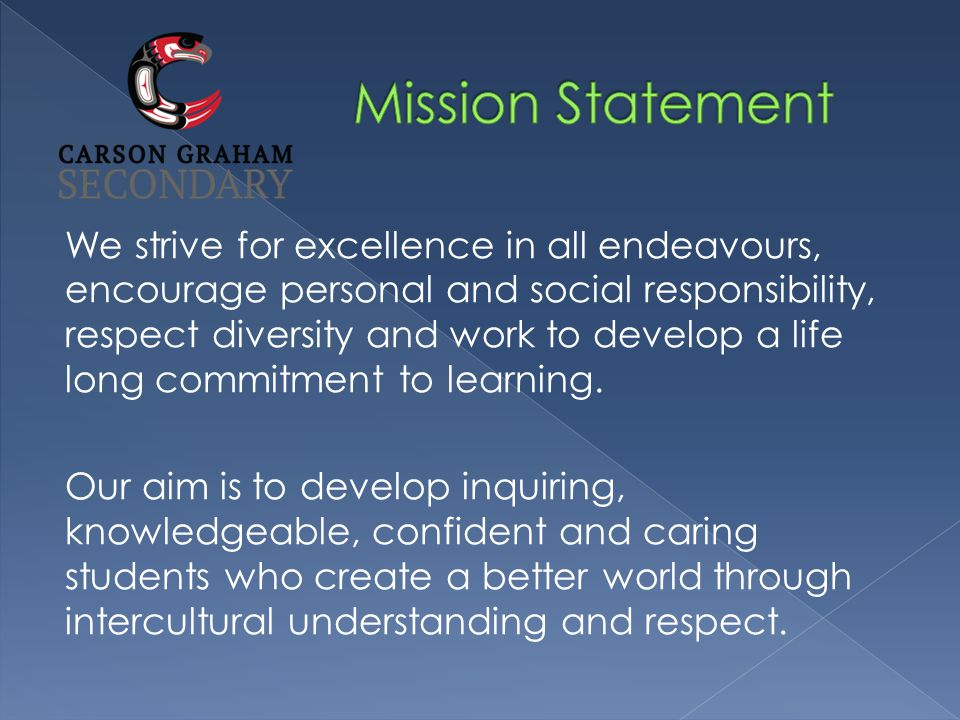 We strive for excellence in all endeavours, encourage personal and social responsibility, respect diversity and work to develop a life long commitment to learning.