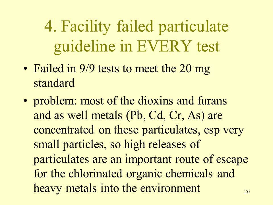 20 4. Facility failed particulate guideline in EVERY test Failed in 9/9 tests to meet the 20 mg standard problem: most of the dioxins and furans and a