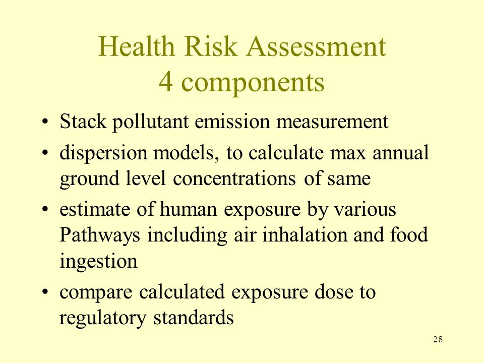 28 Health Risk Assessment 4 components Stack pollutant emission measurement dispersion models, to calculate max annual ground level concentrations of