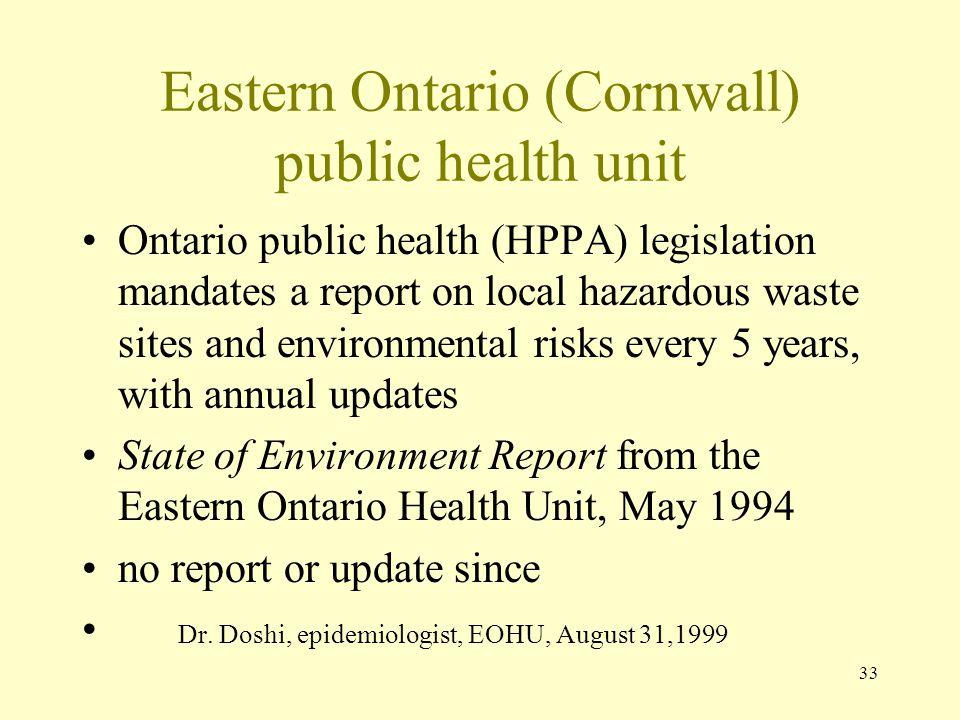 33 Eastern Ontario (Cornwall) public health unit Ontario public health (HPPA) legislation mandates a report on local hazardous waste sites and environ