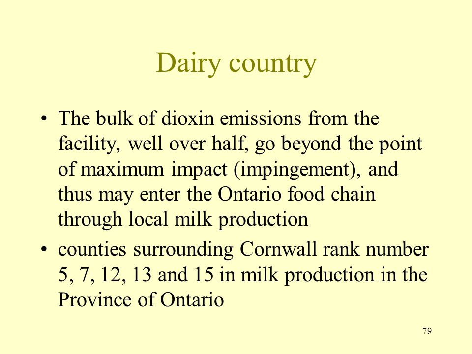 79 Dairy country The bulk of dioxin emissions from the facility, well over half, go beyond the point of maximum impact (impingement), and thus may ent