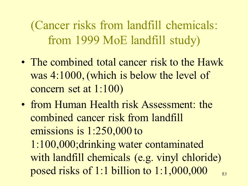 83 (Cancer risks from landfill chemicals: from 1999 MoE landfill study) The combined total cancer risk to the Hawk was 4:1000, (which is below the lev