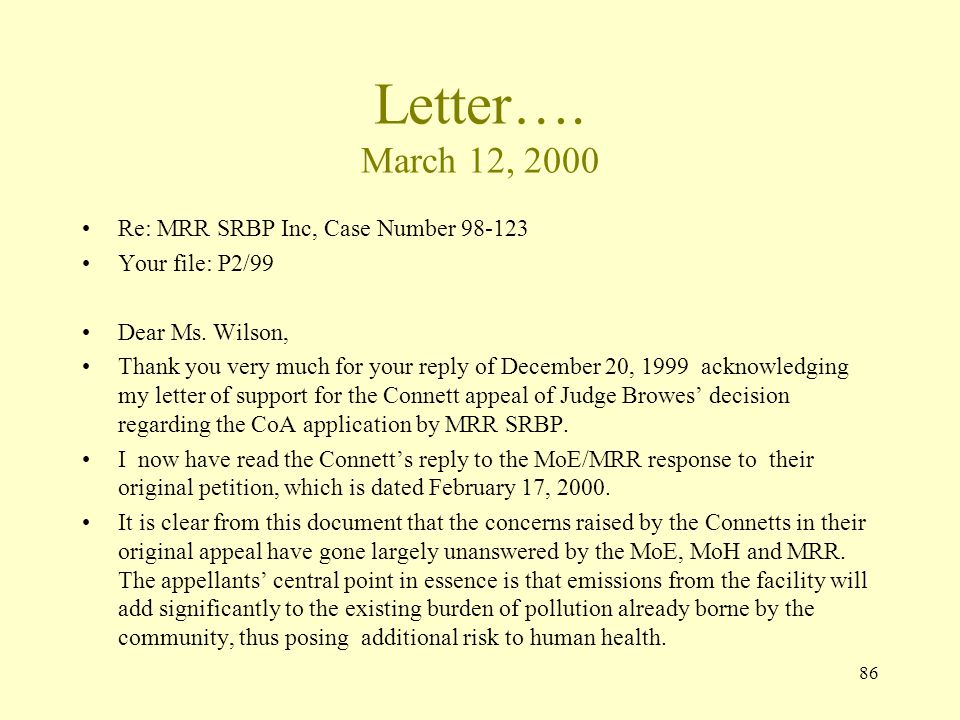 86 Letter…. March 12, 2000 Re: MRR SRBP Inc, Case Number 98-123 Your file: P2/99 Dear Ms. Wilson, Thank you very much for your reply of December 20, 1