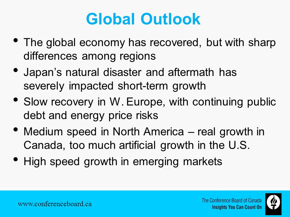 Global Outlook The global economy has recovered, but with sharp differences among regions Japan's natural disaster and aftermath has severely impacted short-term growth Slow recovery in W.