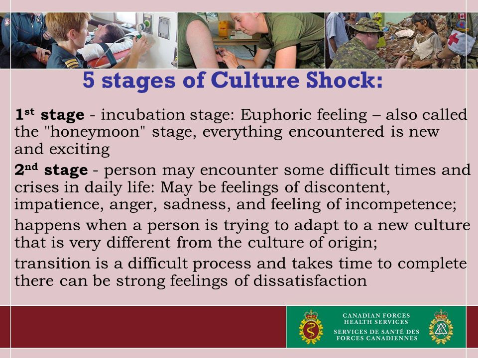 5 stages of Culture Shock: 1 st stage - incubation stage: Euphoric feeling – also called the