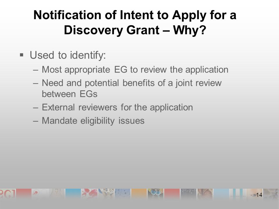Notification of Intent to Apply for a Discovery Grant – Why.
