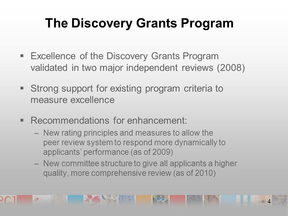 The Discovery Grants Program  Excellence of the Discovery Grants Program validated in two major independent reviews (2008)  Strong support for existing program criteria to measure excellence  Recommendations for enhancement: –New rating principles and measures to allow the peer review system to respond more dynamically to applicants' performance (as of 2009) –New committee structure to give all applicants a higher quality, more comprehensive review (as of 2010) 4