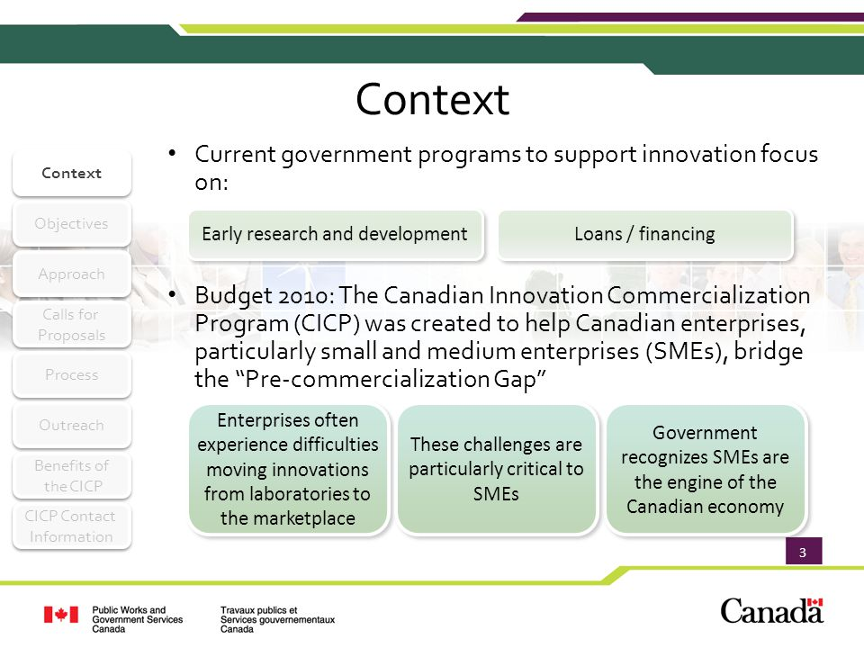 4 Objectives Context Objectives Approach Calls for Proposals Calls for Proposals Process Outreach Benefits of the CICP Benefits of the CICP CICP Contact Information CICP Contact Information CICP Will Support Innovation in Canada By Supporting Canadian Businesses Providing real-world evaluations of pre- commercial goods and services Assisting in bridging the Pre-commercialization Gap Improving the efficiency and effectiveness of government operations