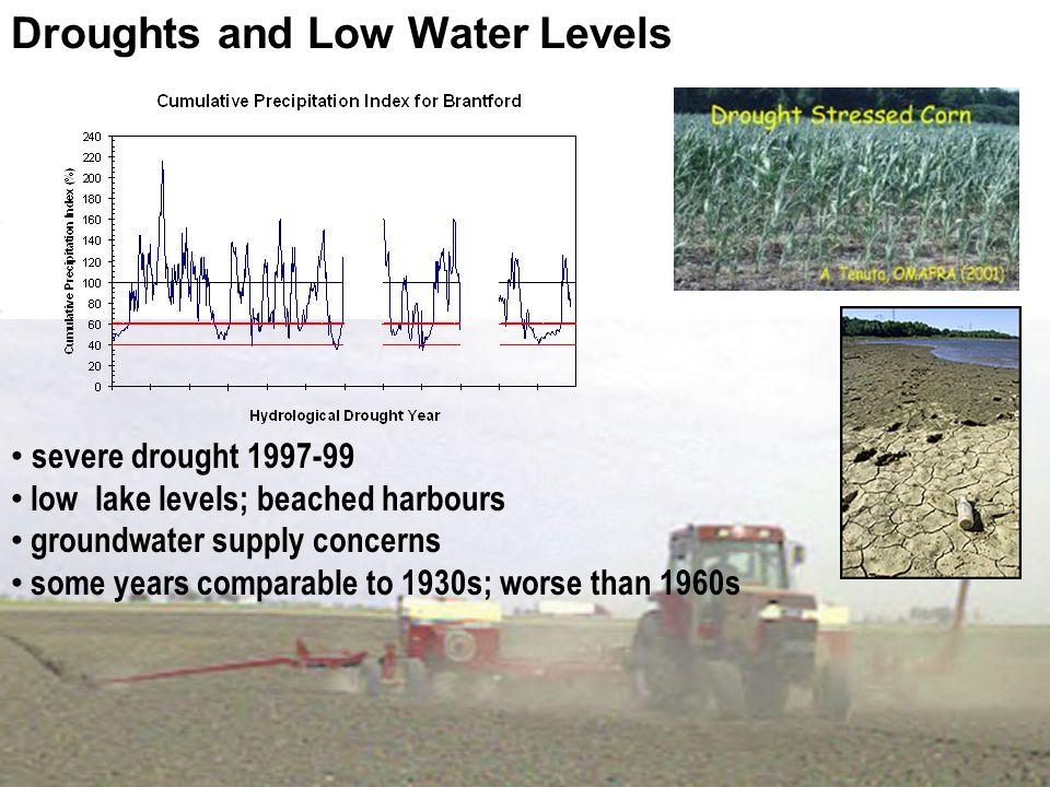 Droughts and Low Water Levels severe drought 1997-99 low lake levels; beached harbours groundwater supply concerns some years comparable to 1930s; worse than 1960s