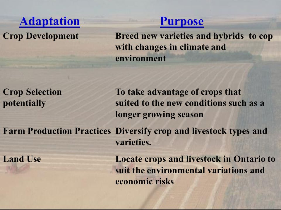 AdaptationPurpose Crop DevelopmentBreed new varieties and hybrids to cop with changes in climate and environment Crop SelectionTo take advantage of crops that potentially suited to the new conditions such as a longer growing season Farm Production PracticesDiversify crop and livestock types and varieties.