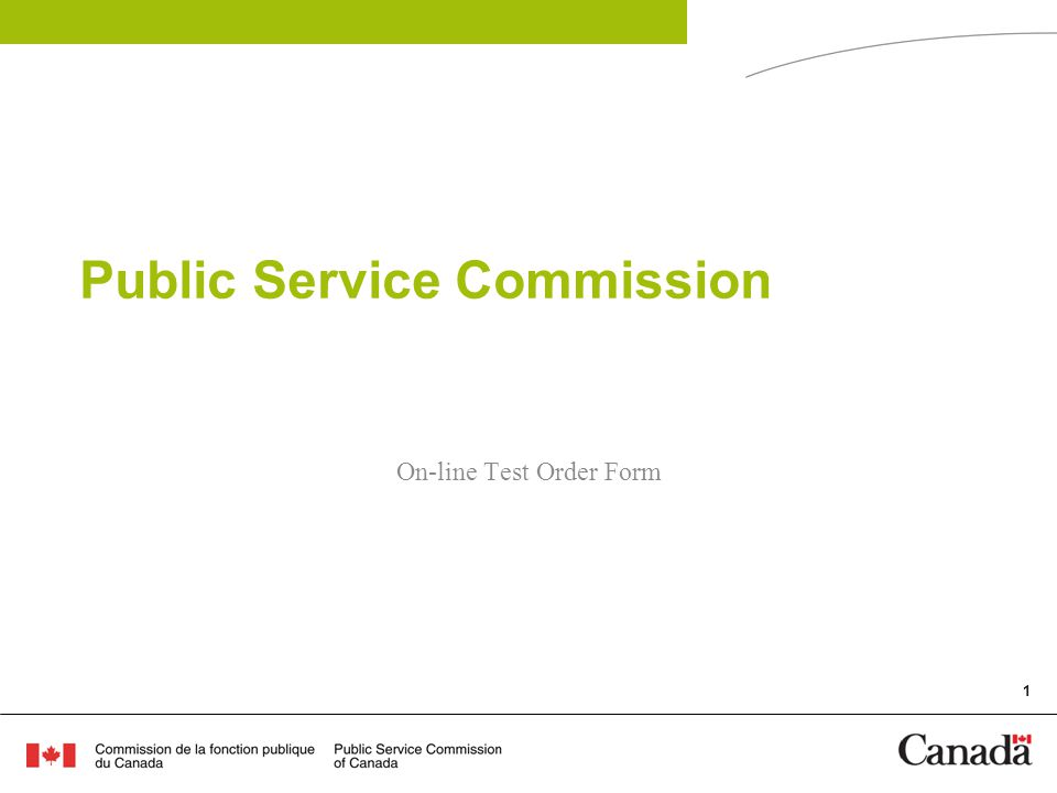 1 Public Service Commission On-line Test Order Form