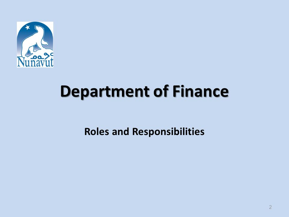 Department of Finance Roles and Responsibilities 2