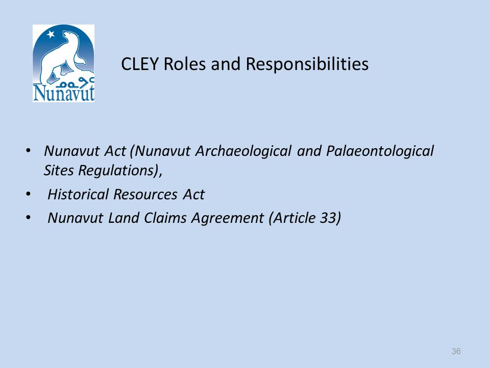 CLEY Roles and Responsibilities Nunavut Act (Nunavut Archaeological and Palaeontological Sites Regulations), Historical Resources Act Nunavut Land Claims Agreement (Article 33) 36