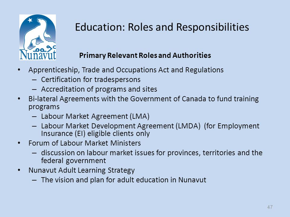 Education: Roles and Responsibilities Primary Relevant Roles and Authorities Apprenticeship, Trade and Occupations Act and Regulations – Certification for tradespersons – Accreditation of programs and sites Bi-lateral Agreements with the Government of Canada to fund training programs – Labour Market Agreement (LMA) – Labour Market Development Agreement (LMDA) (for Employment Insurance (EI) eligible clients only Forum of Labour Market Ministers – discussion on labour market issues for provinces, territories and the federal government Nunavut Adult Learning Strategy – The vision and plan for adult education in Nunavut 47