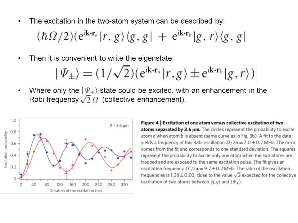 The excitation in the two-atom system can be described by: Then it is convenient to write the eigenstate: Where only the state could be excited, with an enhancement in the Rabi frequency (collective enhancement).