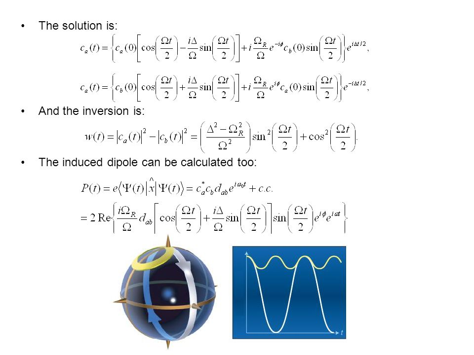 The solution is: And the inversion is: The induced dipole can be calculated too: