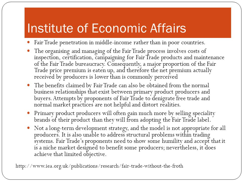 Fair Trade penetration in middle-income rather than in poor countries.