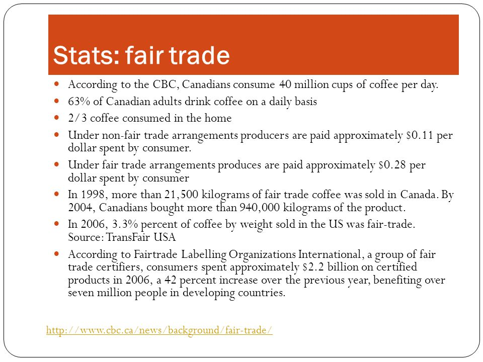 Stats: fair trade According to the CBC, Canadians consume 40 million cups of coffee per day.