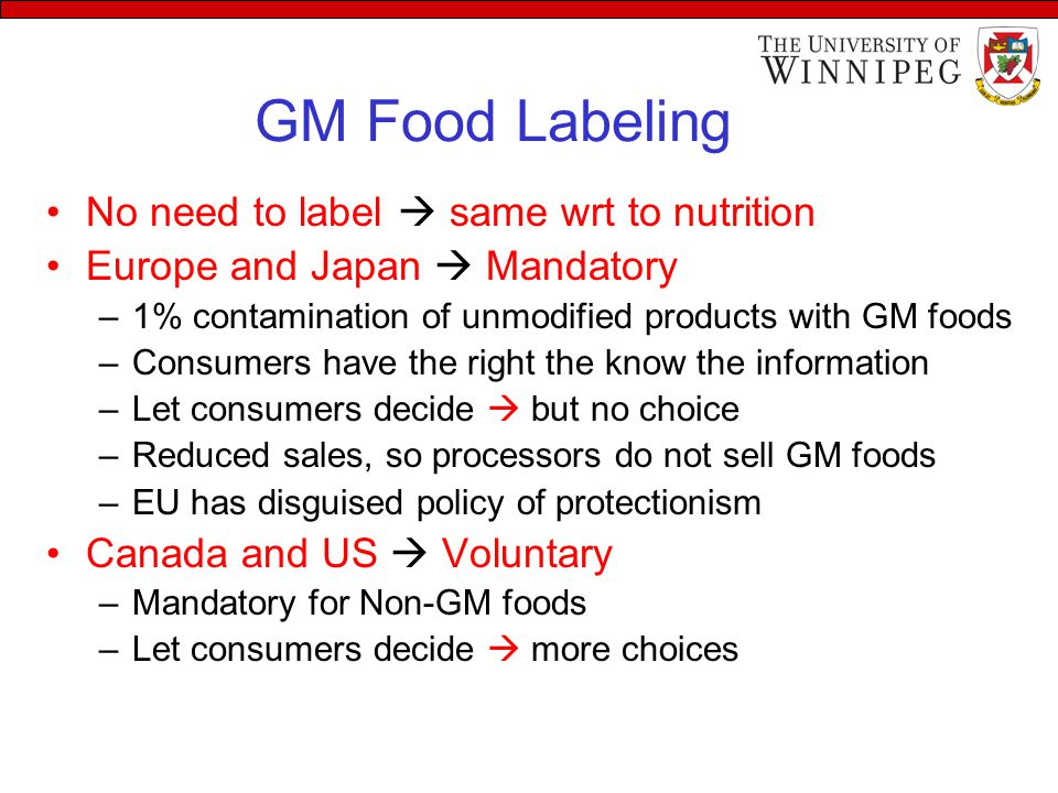 GM Food Labeling No need to label  same wrt to nutrition Europe and Japan  Mandatory –1% contamination of unmodified products with GM foods –Consumers have the right the know the information –Let consumers decide  but no choice –Reduced sales, so processors do not sell GM foods –EU has disguised policy of protectionism Canada and US  Voluntary –Mandatory for Non-GM foods –Let consumers decide  more choices
