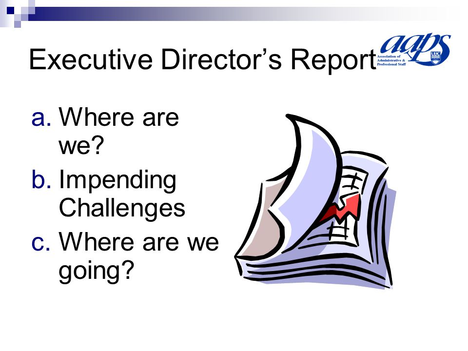 Executive Director's Report a.Where are we b.Impending Challenges c.Where are we going