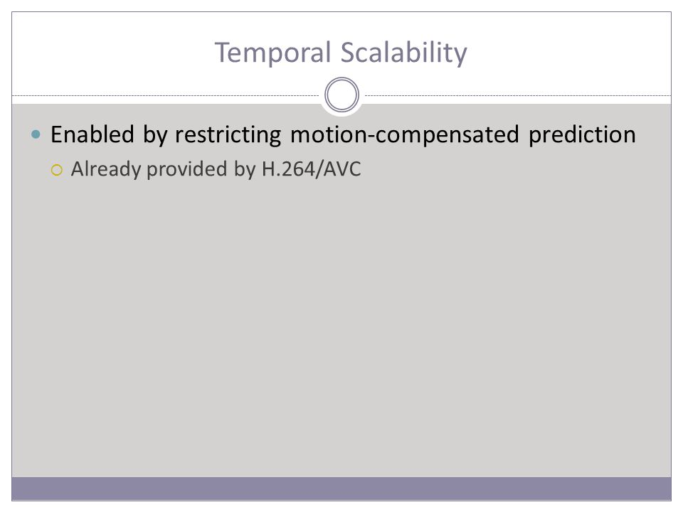 Temporal Scalability Enabled by restricting motion-compensated prediction  Already provided by H.264/AVC
