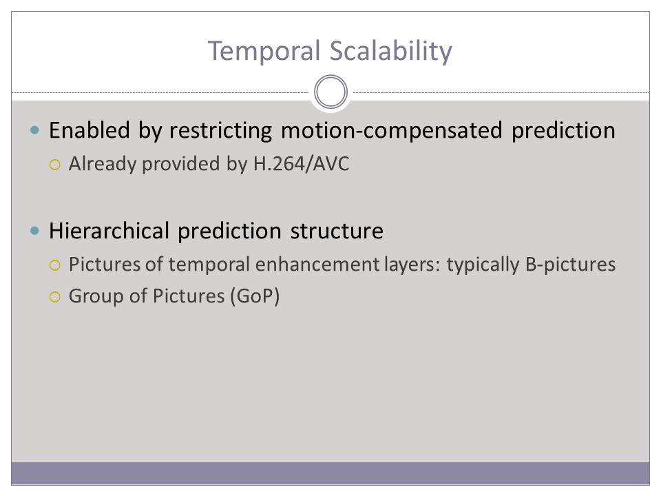 Temporal Scalability Enabled by restricting motion-compensated prediction  Already provided by H.264/AVC Hierarchical prediction structure  Pictures of temporal enhancement layers: typically B-pictures  Group of Pictures (GoP)