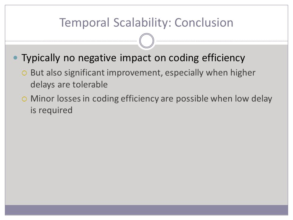 Temporal Scalability: Conclusion Typically no negative impact on coding efficiency  But also significant improvement, especially when higher delays are tolerable  Minor losses in coding efficiency are possible when low delay is required