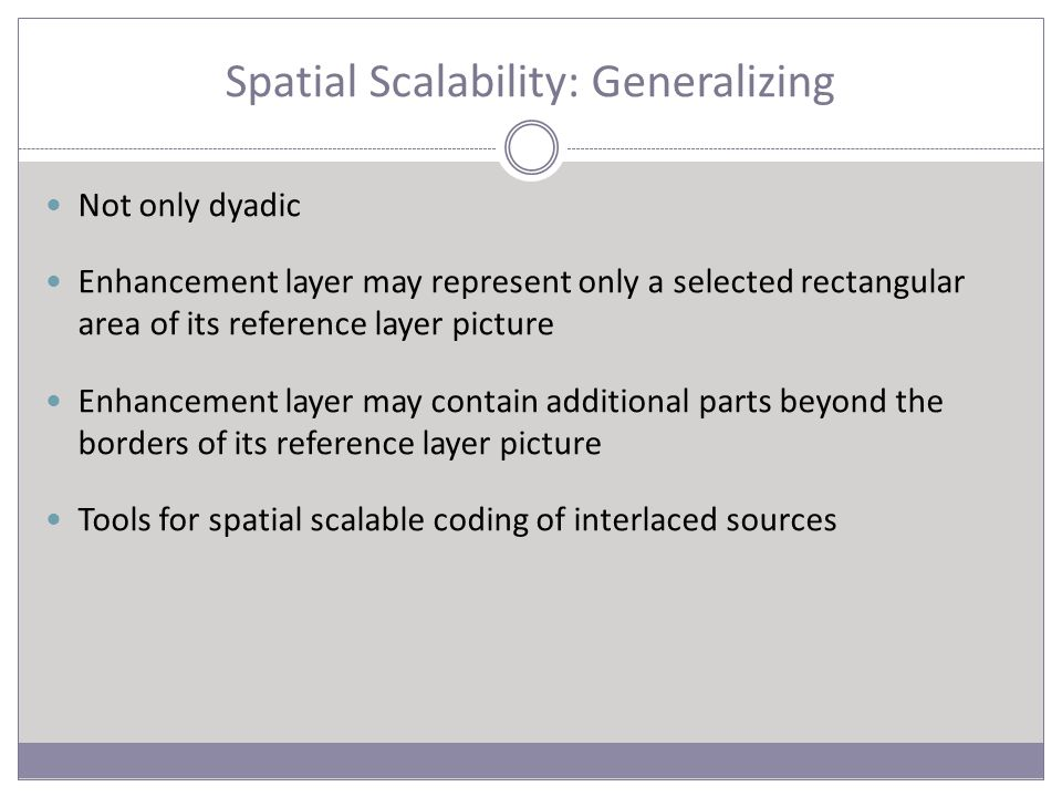 Spatial Scalability: Generalizing Not only dyadic Enhancement layer may represent only a selected rectangular area of its reference layer picture Enhancement layer may contain additional parts beyond the borders of its reference layer picture Tools for spatial scalable coding of interlaced sources