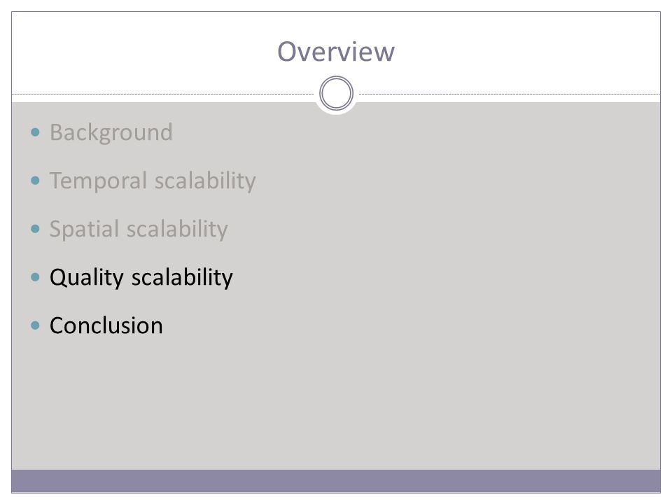 Overview Background Temporal scalability Spatial scalability Quality scalability Conclusion