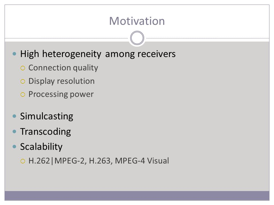 Motivation High heterogeneity among receivers  Connection quality  Display resolution  Processing power Simulcasting Transcoding Scalability  H.262|MPEG-2, H.263, MPEG-4 Visual