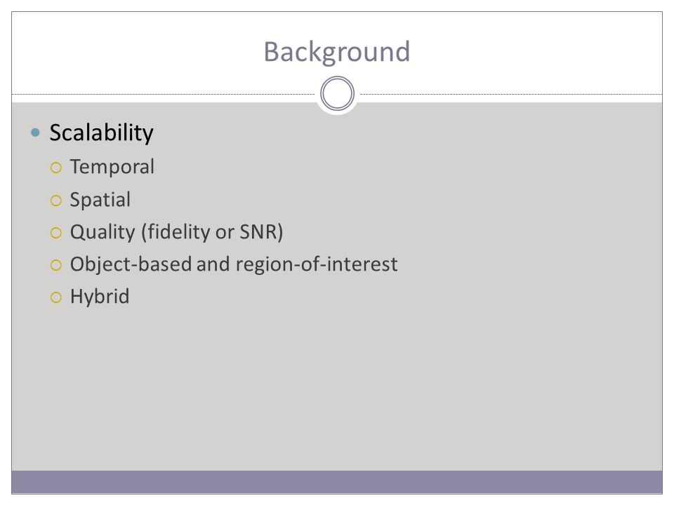 Background Scalability  Temporal  Spatial  Quality (fidelity or SNR)  Object-based and region-of-interest  Hybrid