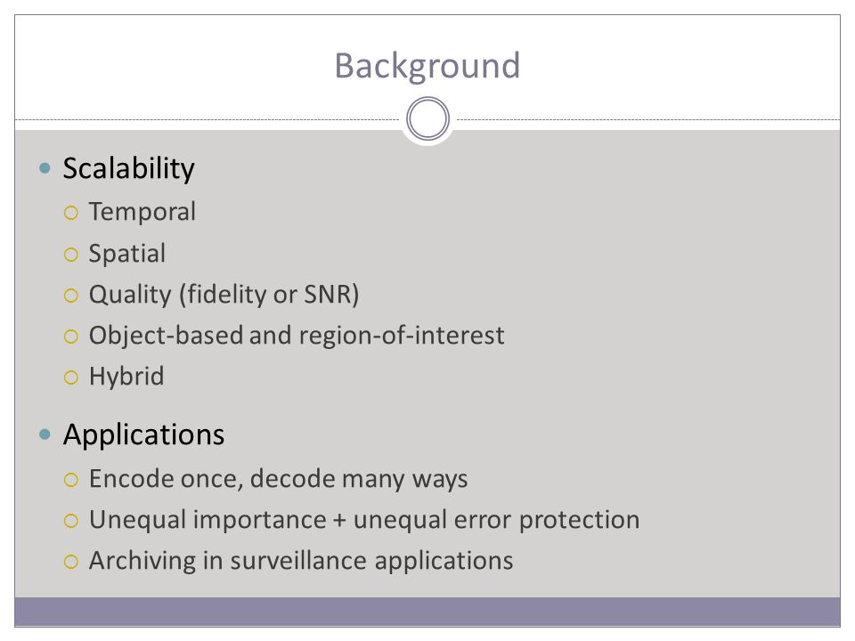 Background Scalability  Temporal  Spatial  Quality (fidelity or SNR)  Object-based and region-of-interest  Hybrid Applications  Encode once, decode many ways  Unequal importance + unequal error protection  Archiving in surveillance applications