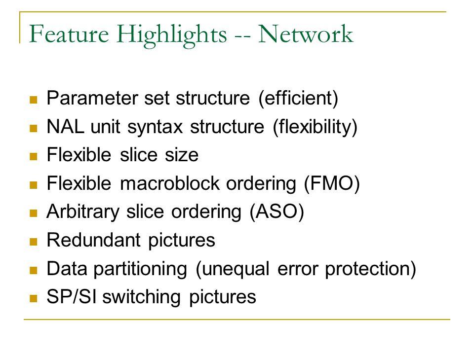 Feature Highlights -- Network Parameter set structure (efficient) NAL unit syntax structure (flexibility) Flexible slice size Flexible macroblock orde