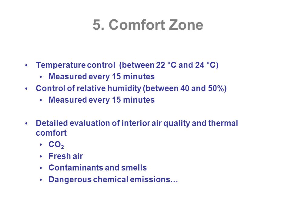 5. Comfort Zone Temperature control (between 22 °C and 24 °C) Measured every 15 minutes Control of relative humidity (between 40 and 50%) Measured eve