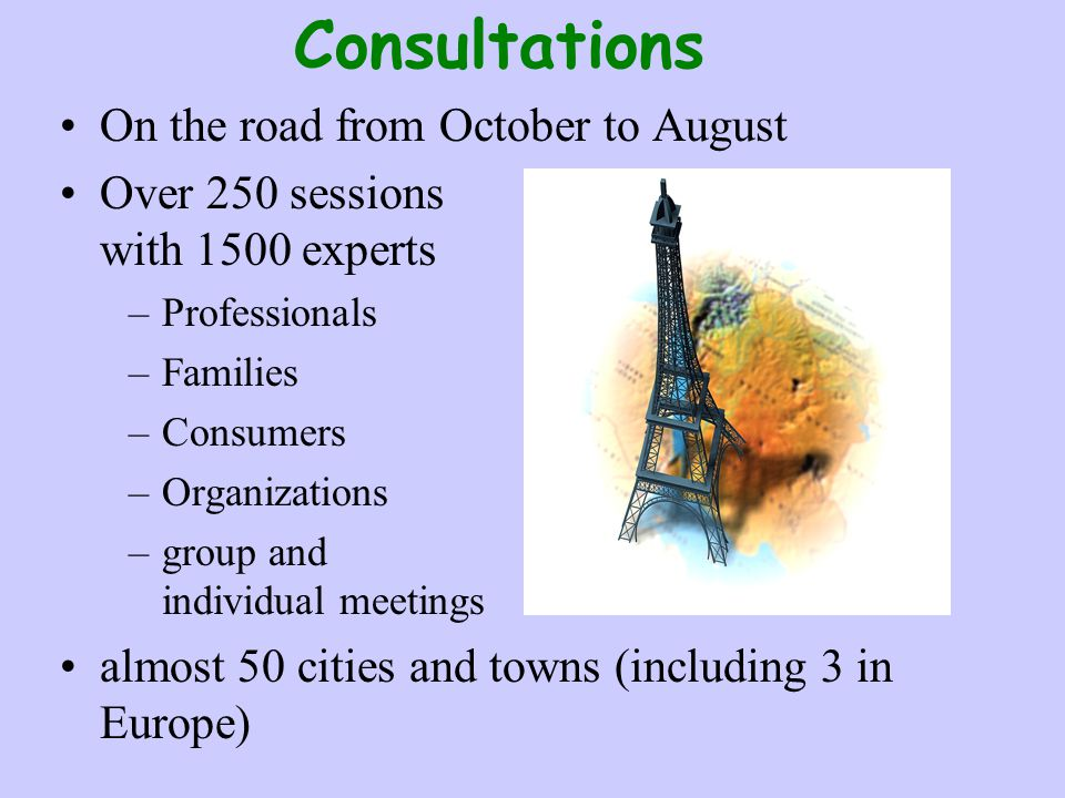 Consultations On the road from October to August Over 250 sessions with 1500 experts –Professionals –Families –Consumers –Organizations –group and ind