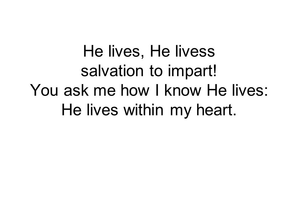 He lives, He livess salvation to impart! You ask me how I know He lives: He lives within my heart.