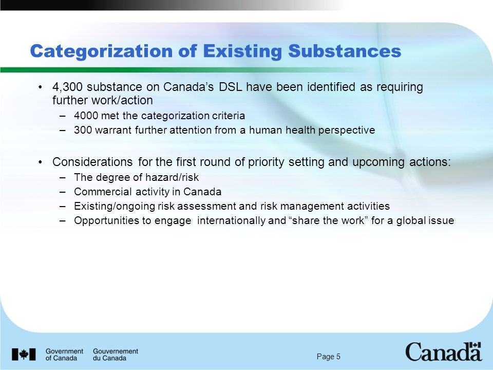 Page 5 Categorization of Existing Substances 4,300 substance on Canada's DSL have been identified as requiring further work/action –4000 met the categorization criteria –300 warrant further attention from a human health perspective Considerations for the first round of priority setting and upcoming actions: –The degree of hazard/risk –Commercial activity in Canada –Existing/ongoing risk assessment and risk management activities –Opportunities to engage internationally and share the work for a global issue