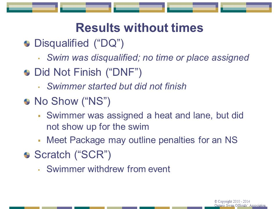 """© Copyright 2010 - 2014 Ontario Swim Officials' Association Results without times Disqualified (""""DQ"""") Swim was disqualified; no time or place assigned"""