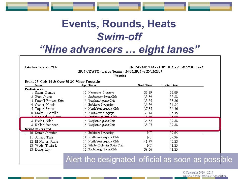 "© Copyright 2010 - 2014 Ontario Swim Officials' Association Events, Rounds, Heats Swim-off ""Nine advancers … eight lanes"" Alert the designated officia"
