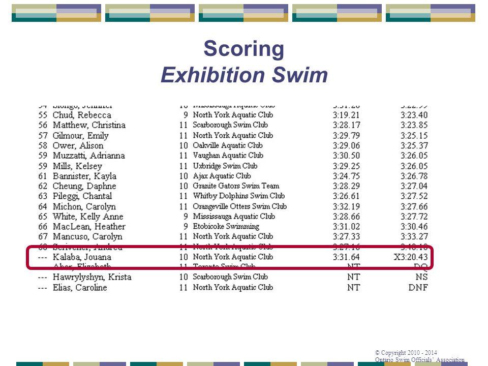 © Copyright 2010 - 2014 Ontario Swim Officials' Association Scoring Exhibition Swim